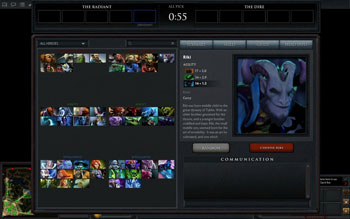 DOTA 2 Riki Hero Selection Menu